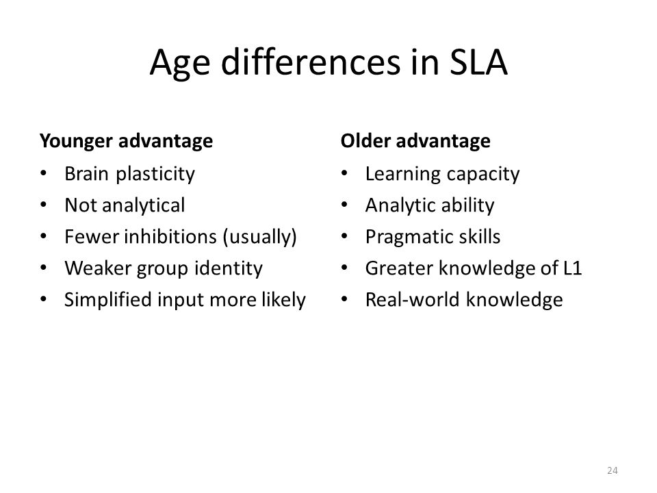 Age differences in SLA Younger advantage Older advantage