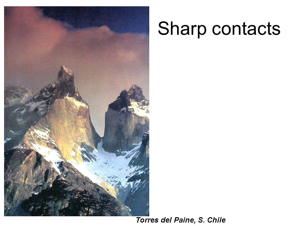 Sharp contacts Torres del Paine, S. Chile