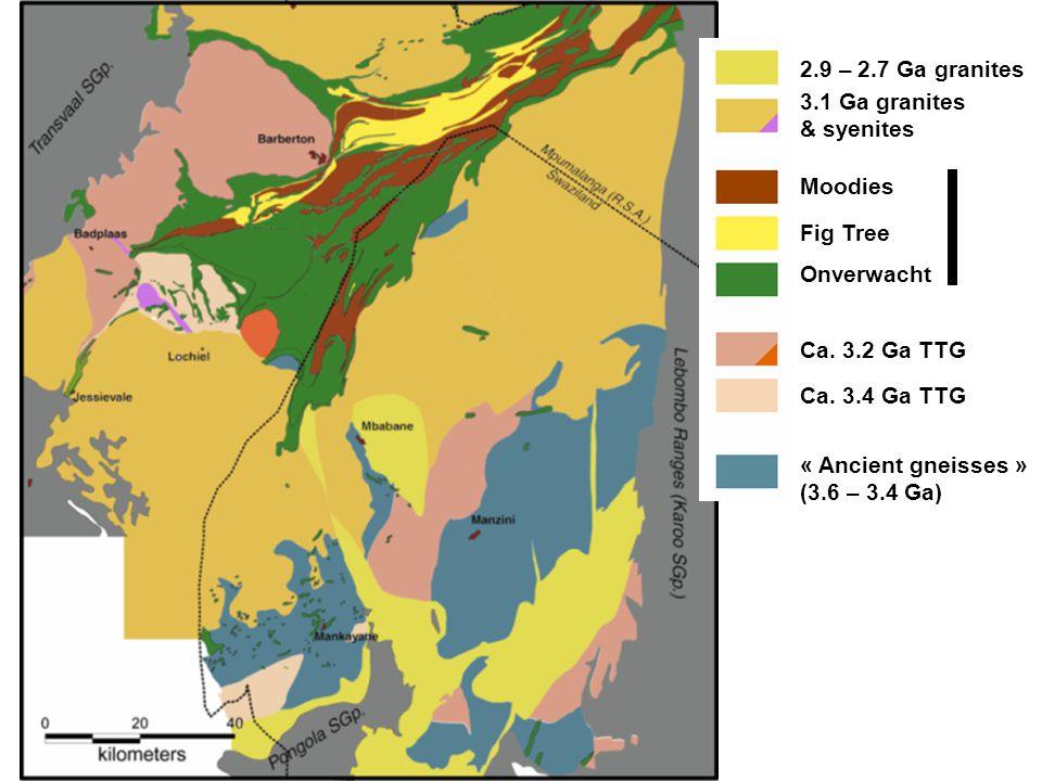 2.9 – 2.7 Ga granites 3.1 Ga granites. & syenites. Moodies. Fig Tree. Onverwacht. Ca. 3.2 Ga TTG.