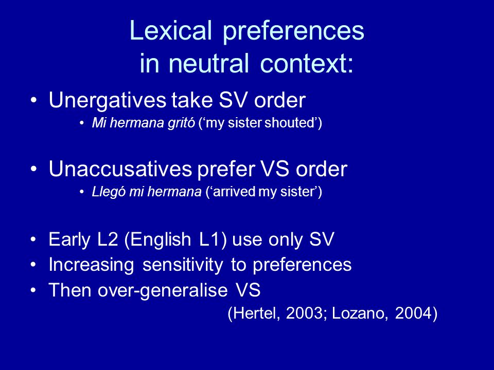 Lexical preferences in neutral context: