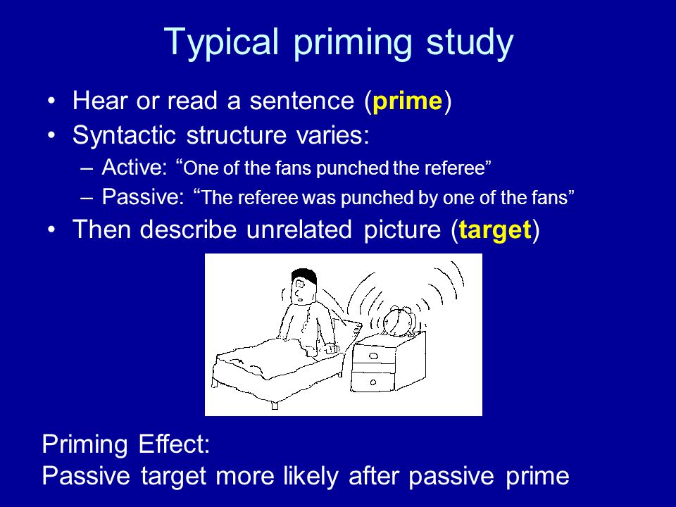 Typical priming study Hear or read a sentence (prime)