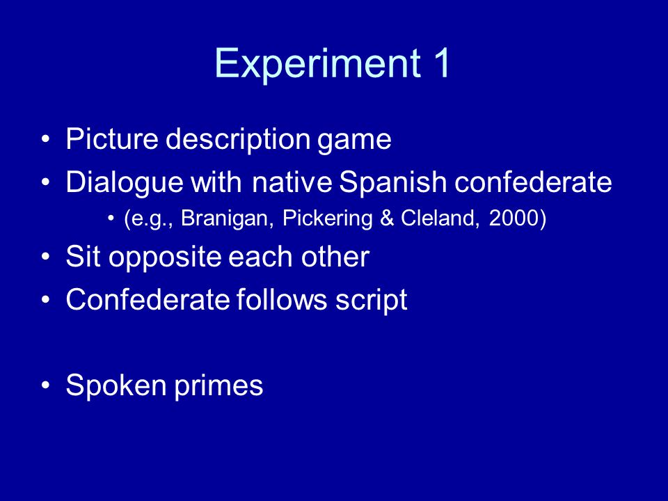 Experiment 1 Picture description game