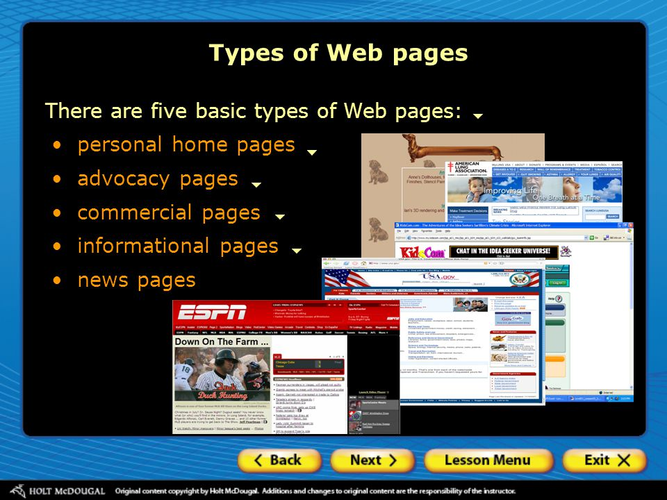 Types of Web pages There are five basic types of Web pages:
