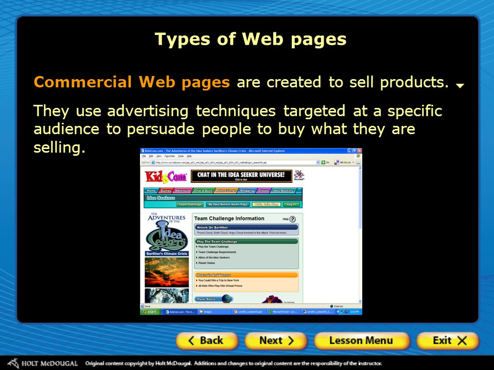 Types of Web pages Commercial Web pages are created to sell products.