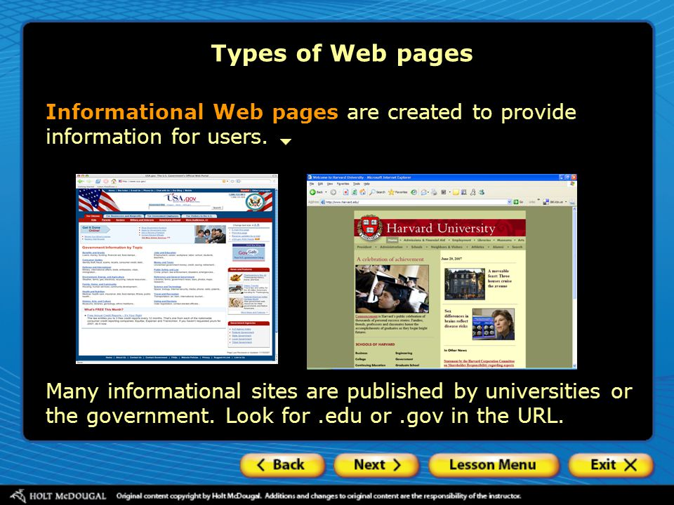 Types of Web pages Informational Web pages are created to provide information for users.