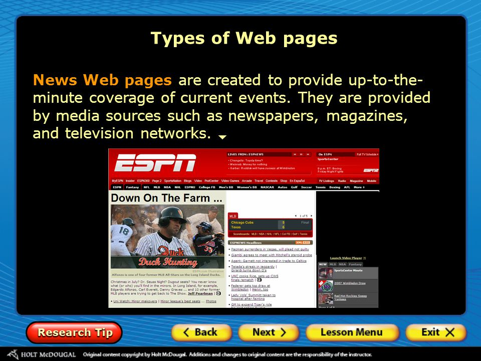 Types of Web pages