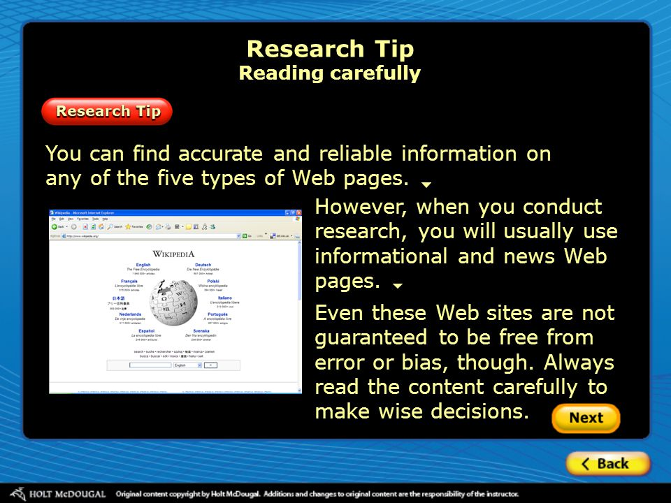 Research Tip Reading carefully
