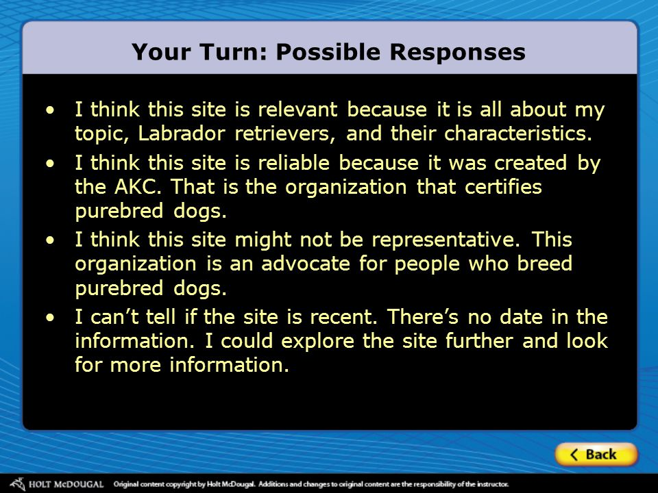 Your Turn: Possible Responses