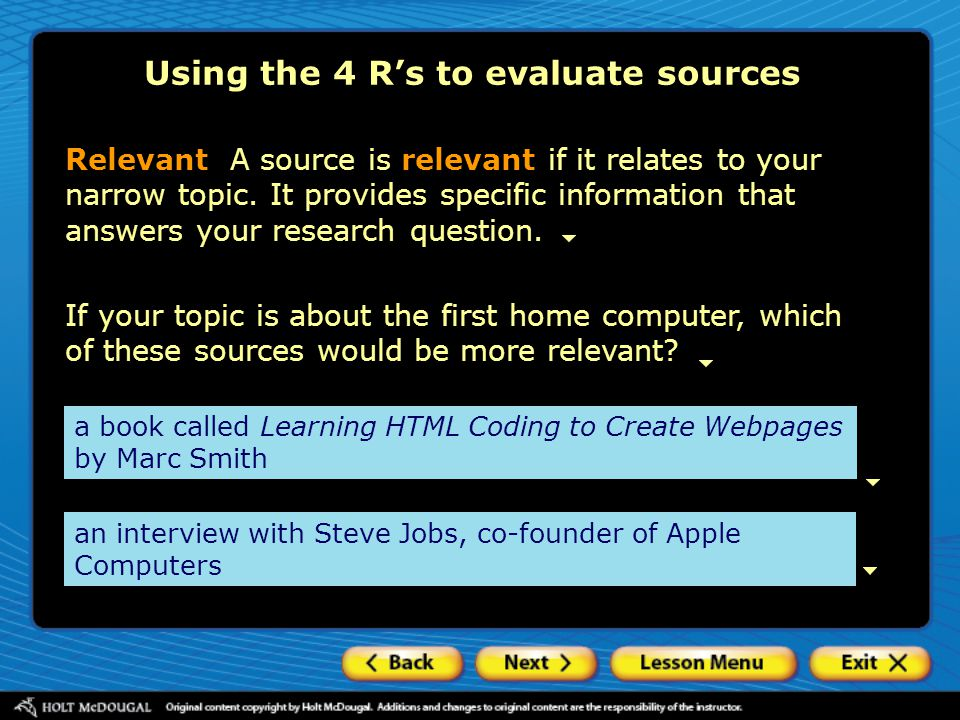 Using the 4 R's to evaluate sources