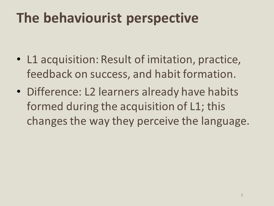 The behaviourist perspective
