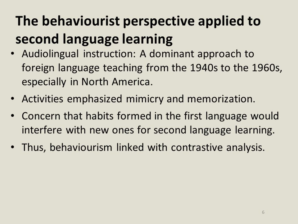 The behaviourist perspective applied to second language learning