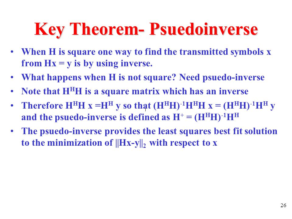 Key Theorem- Psuedoinverse