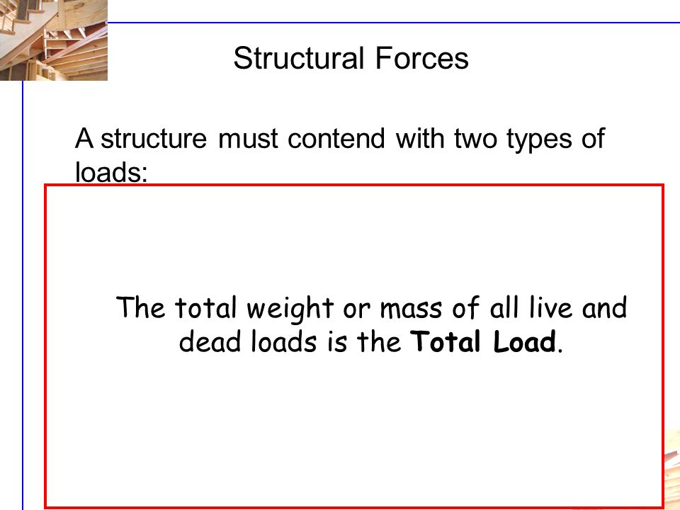 The total weight or mass of all live and dead loads is the Total Load.