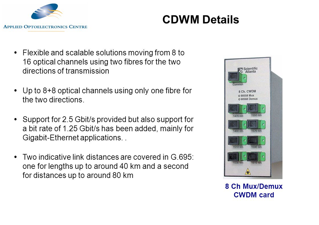 CDWM Details Flexible and scalable solutions moving from 8 to 16 optical channels using two fibres for the two directions of transmission.