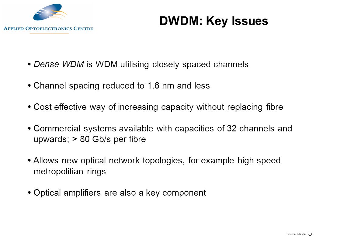 DWDM: Key Issues Dense WDM is WDM utilising closely spaced channels