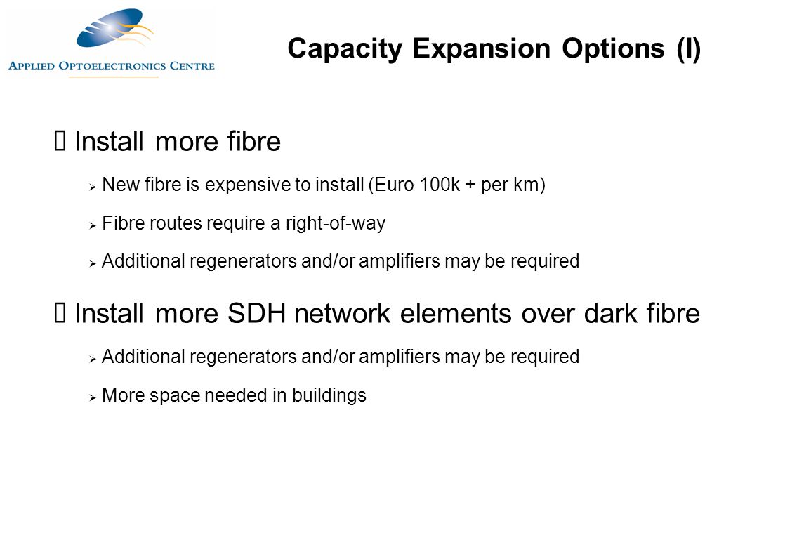 Capacity Expansion Options (I)