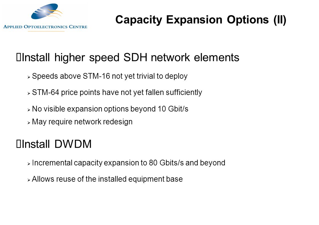 Capacity Expansion Options (II)