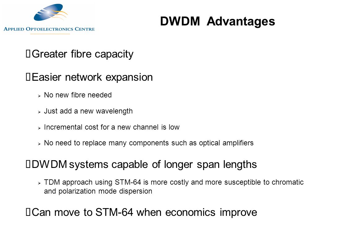 DWDM Advantages Greater fibre capacity Easier network expansion