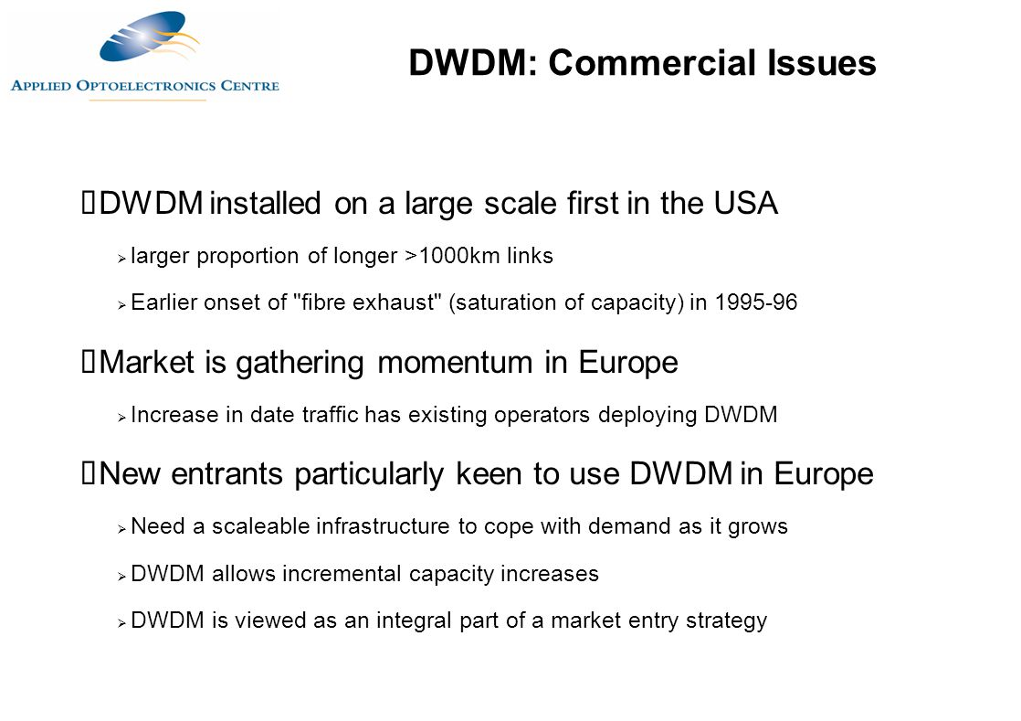 DWDM: Commercial Issues