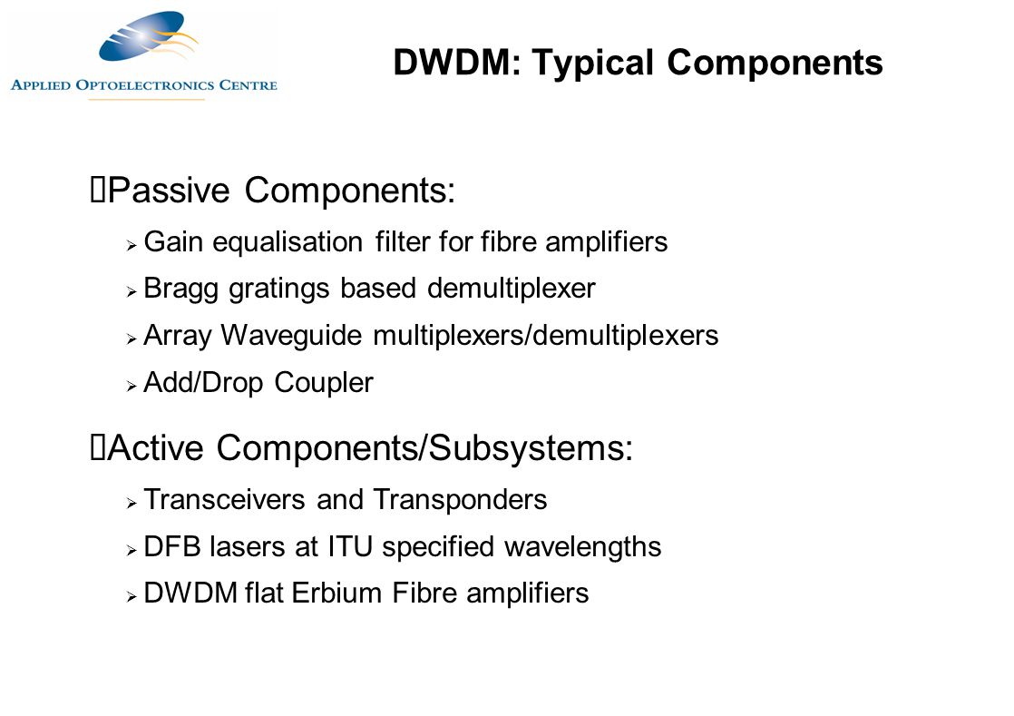 DWDM: Typical Components