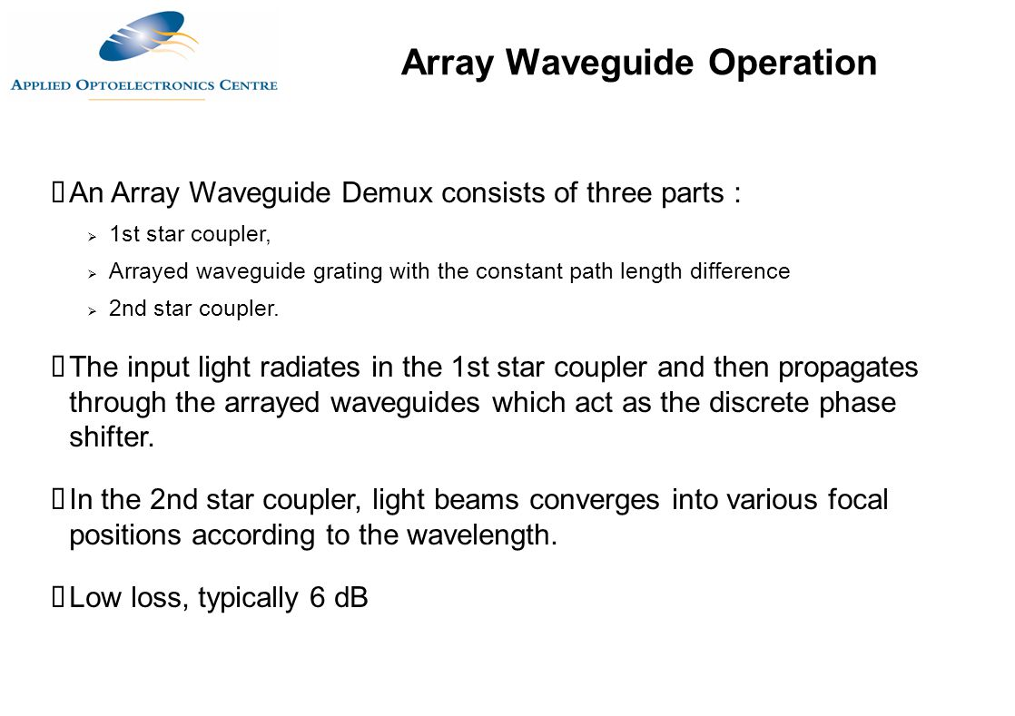 Array Waveguide Operation