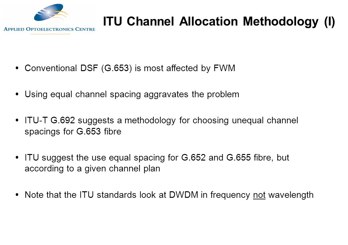 ITU Channel Allocation Methodology (I)