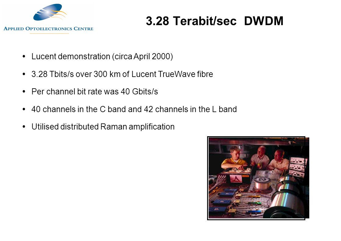 3.28 Terabit/sec DWDM Lucent demonstration (circa April 2000)