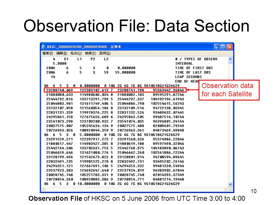 Observation File: Data Section
