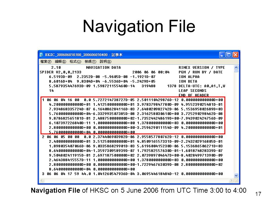 Navigation File of HKSC on 5 June 2006 from UTC Time 3:00 to 4:00