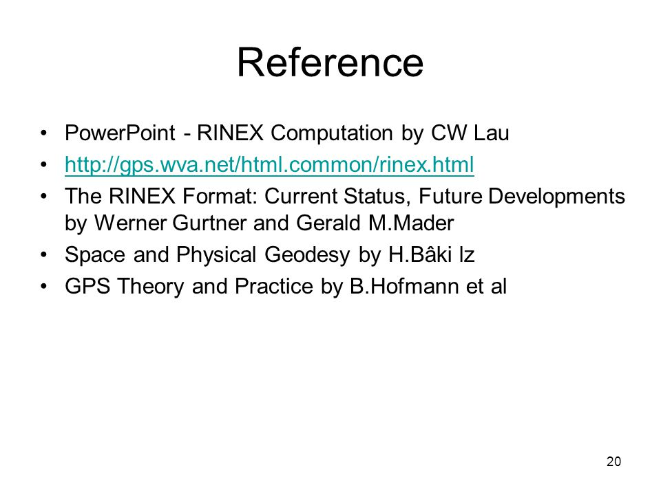 Reference PowerPoint - RINEX Computation by CW Lau