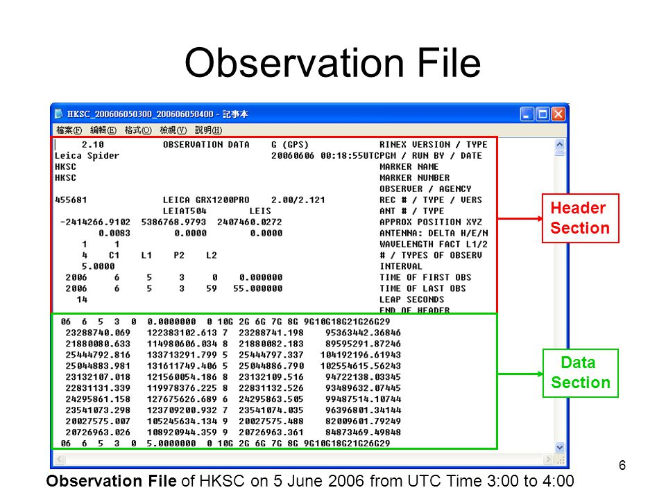 Observation File of HKSC on 5 June 2006 from UTC Time 3:00 to 4:00