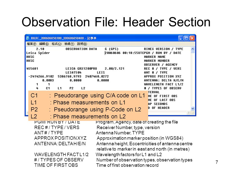 Observation File: Header Section