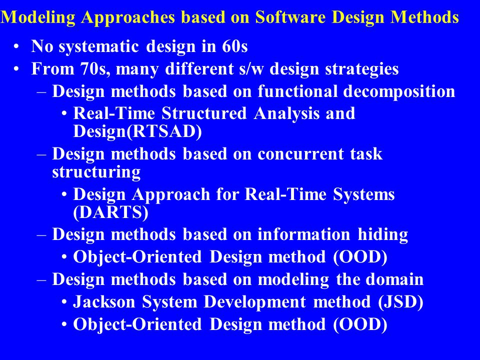 Modeling Approaches based on Software Design Methods