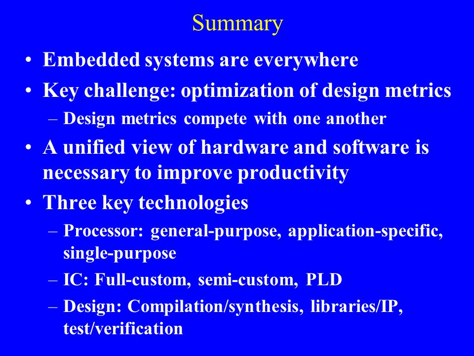 Summary Embedded systems are everywhere