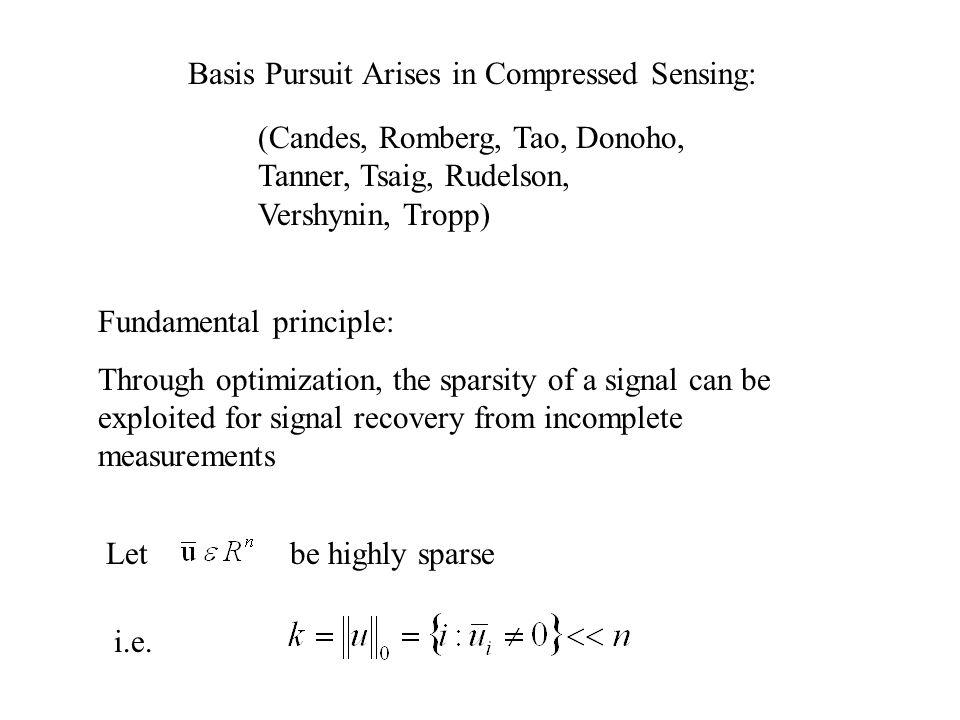 Basis Pursuit Arises in Compressed Sensing: