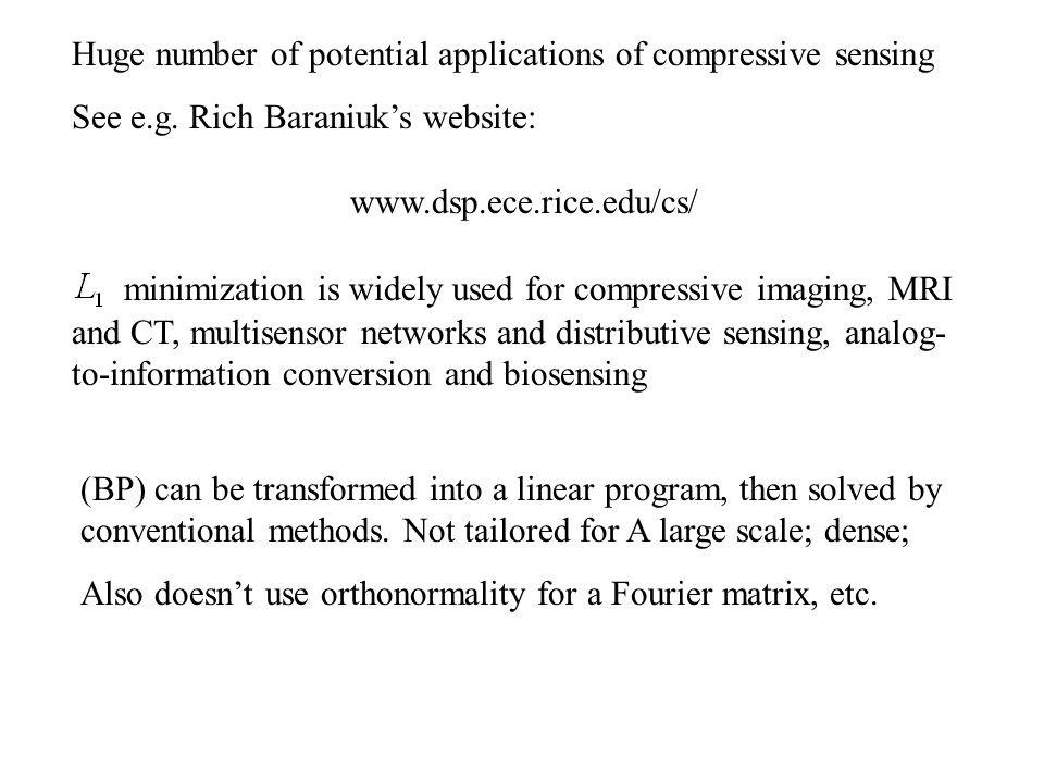 Huge number of potential applications of compressive sensing