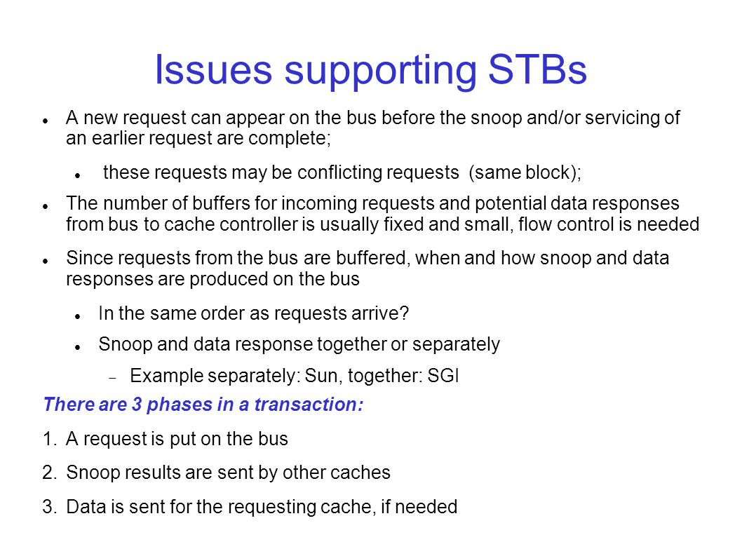 Issues supporting STBs