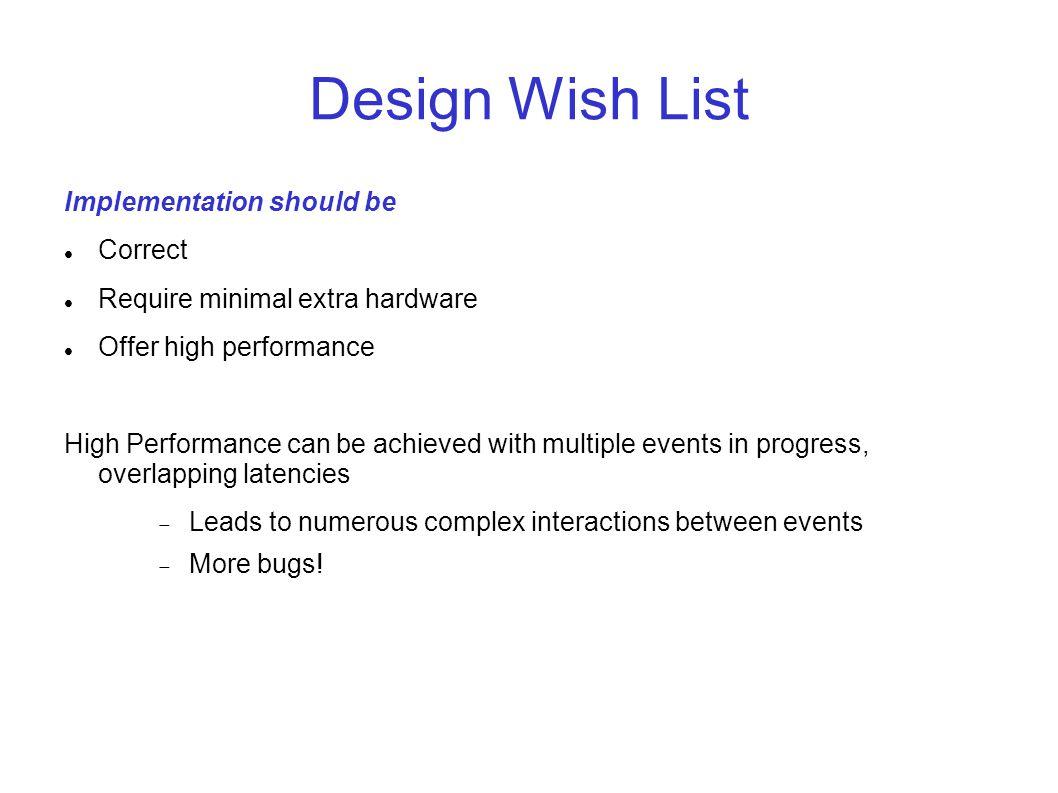 Design Wish List Implementation should be Correct