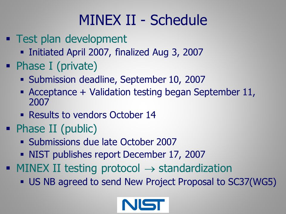 MINEX II - Schedule Test plan development Phase I (private)
