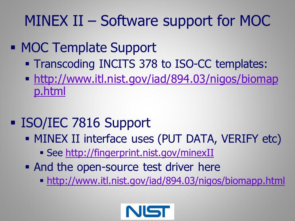 MINEX II – Software support for MOC