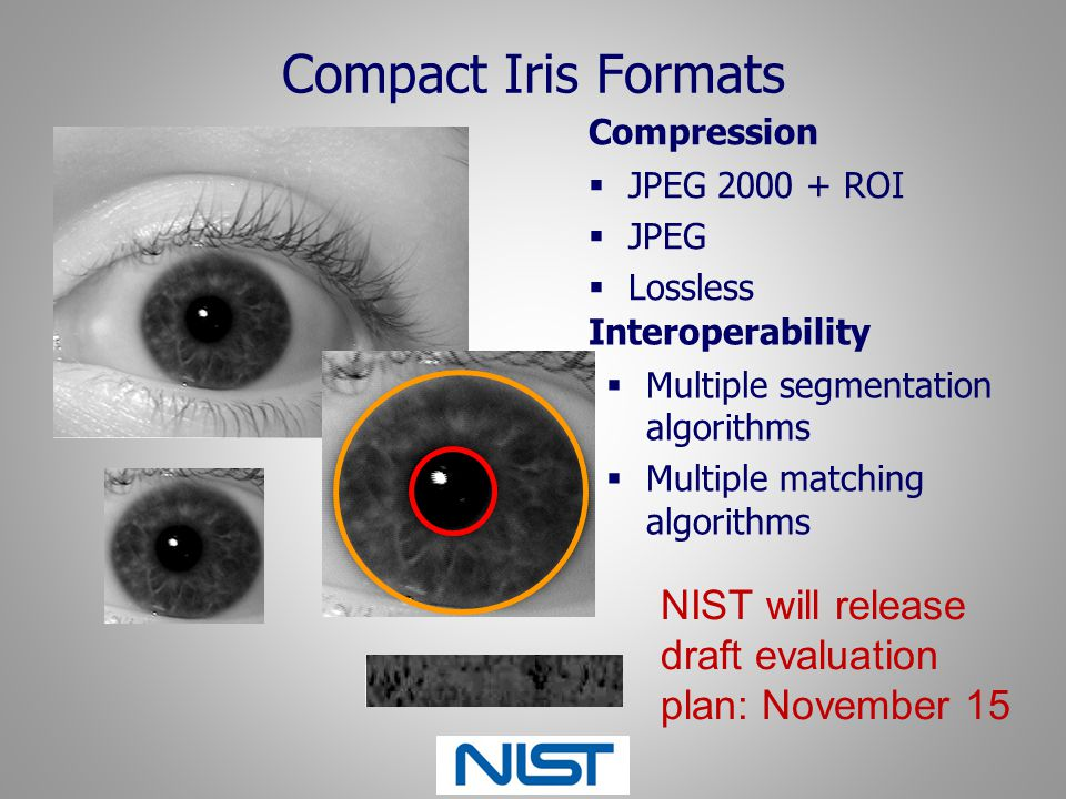 Compact Iris Formats Compression. JPEG 2000 + ROI. JPEG. Lossless. Interoperability. Multiple segmentation algorithms.