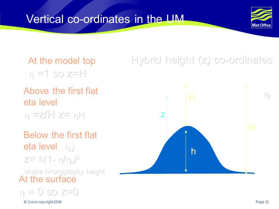 Vertical co-ordinates in the UM