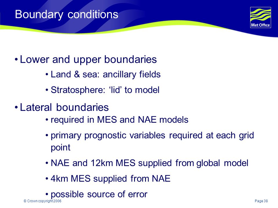 Boundary conditions Lower and upper boundaries Lateral boundaries