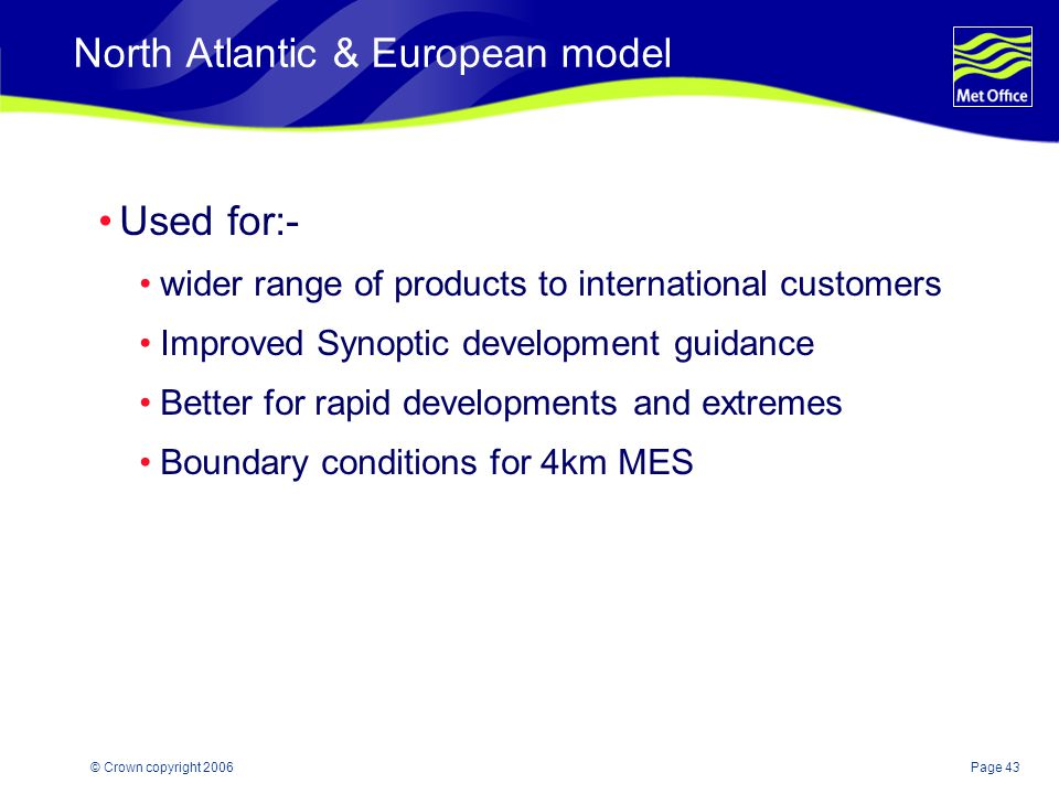 North Atlantic & European model