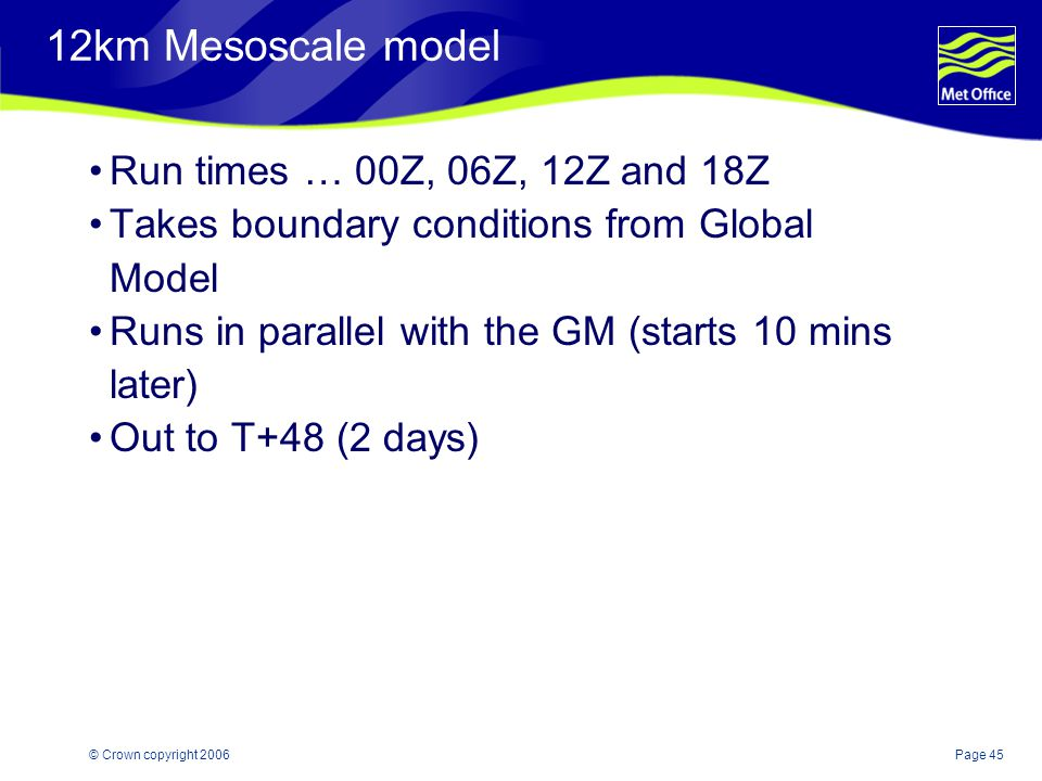 12km Mesoscale model Run times … 00Z, 06Z, 12Z and 18Z
