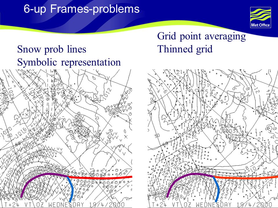 6-up Frames-problems Grid point averaging Thinned grid Snow prob lines