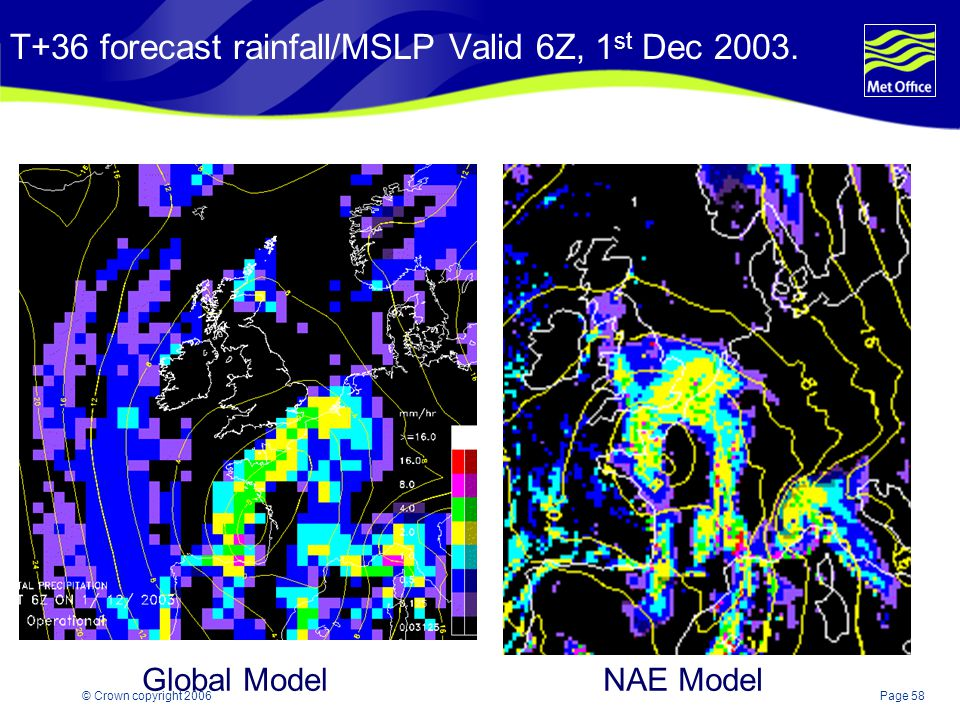 T+36 forecast rainfall/MSLP Valid 6Z, 1st Dec 2003.