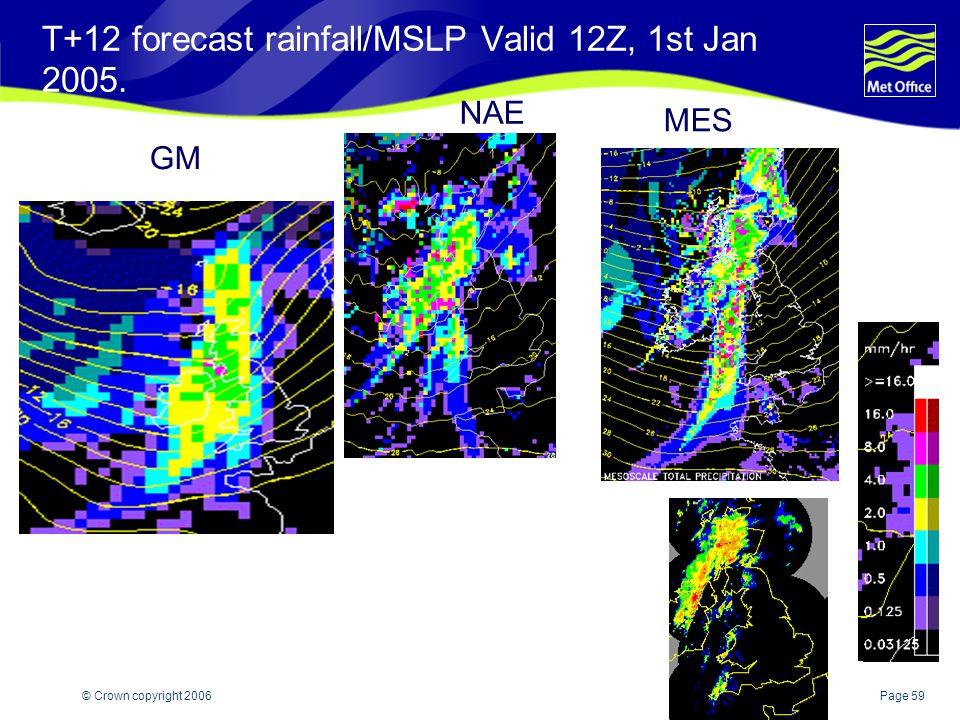 T+12 forecast rainfall/MSLP Valid 12Z, 1st Jan 2005.