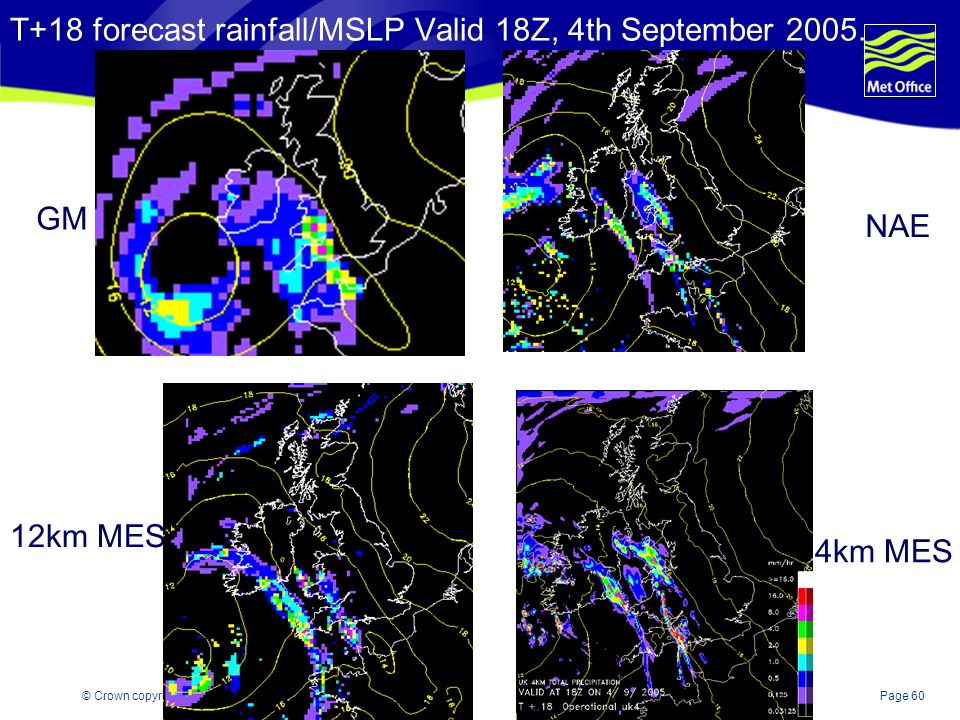 T+18 forecast rainfall/MSLP Valid 18Z, 4th September 2005.