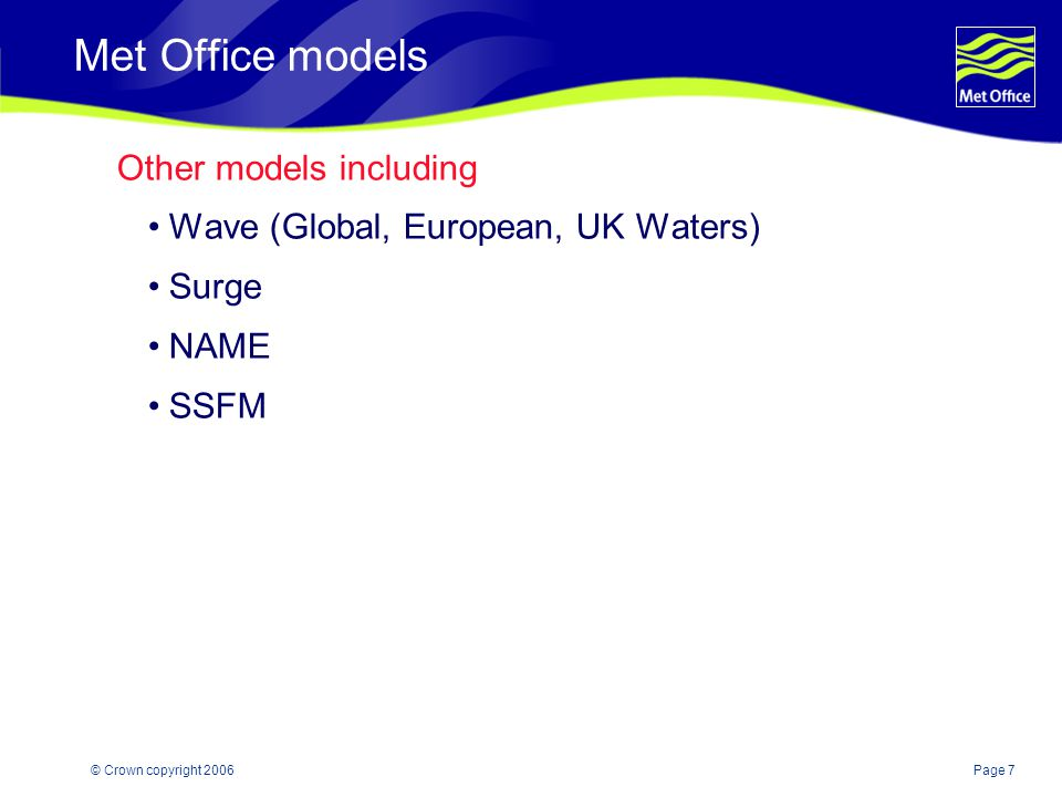 Met Office models Other models including